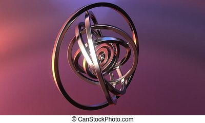 Gimbal made of polished metal. Balance or mechanism...