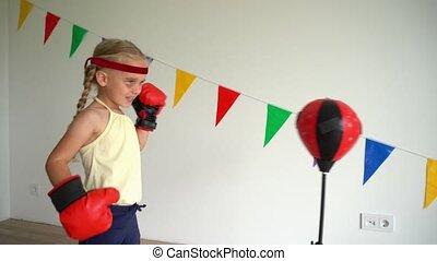 gimbal, ruch, młoda dziewczyna, training., lekkoatletyka, ...