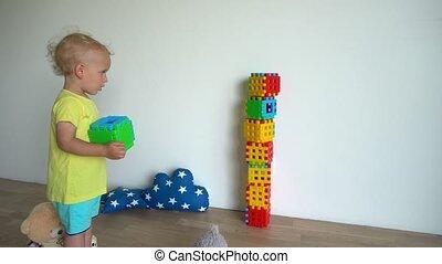 gimbal, ruch, wieża, home., barwny, kloce, dziecko, gmach, ...