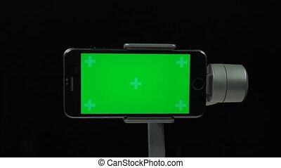 gimbal, ruchomy, ekran, zielony, stabilizator, steadicam,...