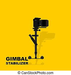 Gimbal stabilizer with camera vector illustration. good template for studio or photography design