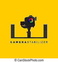 Gimbal stabilizer with DSLR camera vector illustration. good template for studio or photography design