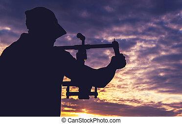 gimbal, tiro, cámara, macho, toma, estabilizador, operador, ...