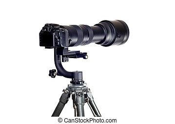 Gimbal Tripod Head Holding Camera With Long Telephoto Zoom Lens