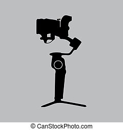 Gimbal with mirrorless camera side view. Black color vector illustration.