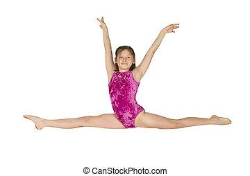 gimnasia, niña, 10, año viejo, posturas