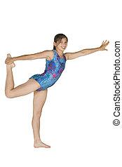 gimnasia, niña, año, 12, viejo, posturas