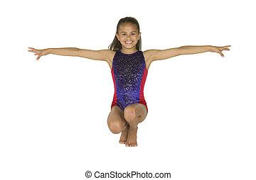 gimnasia, niña, año viejo, 8, posturas