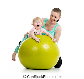 gimnasia, pelota, condición física, bebé, madre