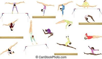 gimnasia, siluetas, set.