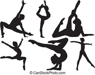 gimnasia, y, condición física