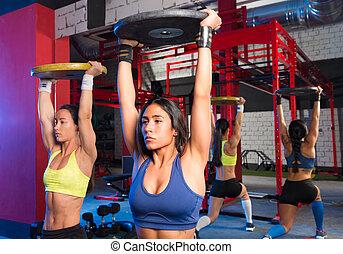 gimnasio, barra con pesas, levantamiento, placas, ...