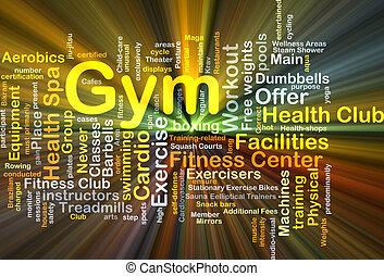 gimnasio, concepto, encendido, Plano de fondo
