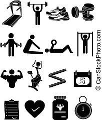gimnasio, condición física, iconos, conjunto