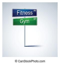 gimnasio, dirección, signo., camino, condición física