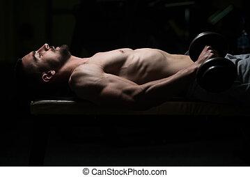 gimnasio, dumbbells, ejercitar, hombre, antebrazo