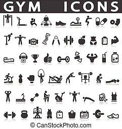 gimnasio, iconos