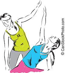 gimnasio, ilustración