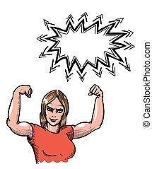 gimnasio, mujer, caricatura, imagen