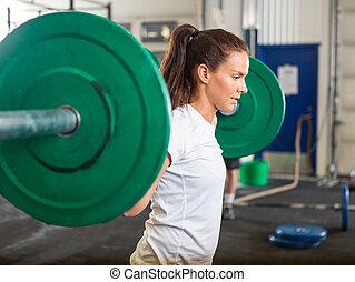 gimnasio, mujer, elevación, ataque, barra con pesas