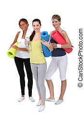 gimnasio, mujer, esteras, tenencia