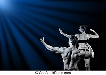 gimnasio, mujer, hombre