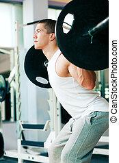 gimnasio, pesas, elevación, hombre