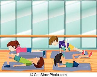 gimnasio, resolver, gente