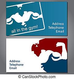 gimnasio, tarjeta comercial
