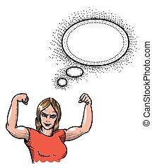 gimnasio, woman-100, imagen, caricatura