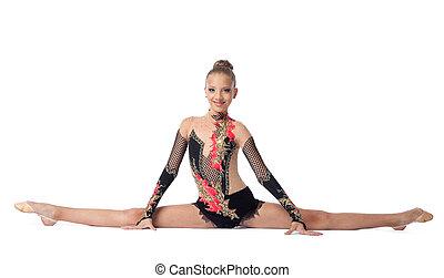gimnasta, aislado, profesional, escisiones, joven