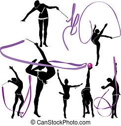 gimnasta, atleta, aislado, niña, wh