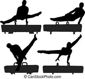 gimnasta, caballo de perilla, silueta