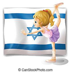 gimnasta, frente, señalador de israel