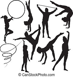 gimnasta, niña, atleta