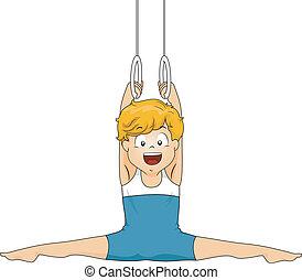 gimnasta, niño