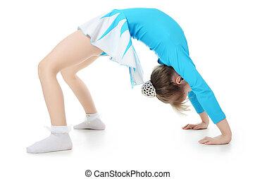 gimnasta, poco, niña, ejercicio