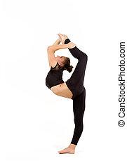 gimnasta, profesional, mujer, joven
