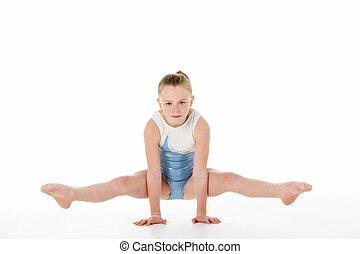 gimnasta, retrato, estudio, joven, hembra