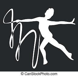 gimnasta, silueta, negro