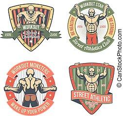 gimnastyczny klub, emblemat, retro