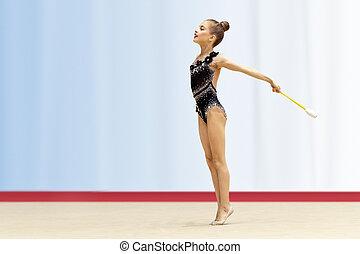 gimnastyk, mała dziewczyna