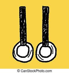 gimnastyka, dzwoni, doodle