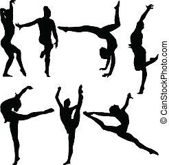 gimnastyka, wektor, -, zbiór