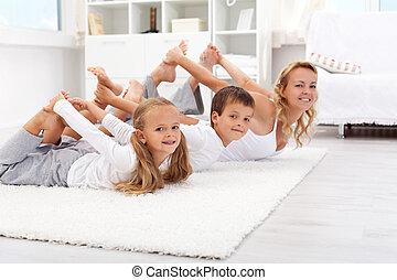 gimnasztikai, ünnepély, otthon