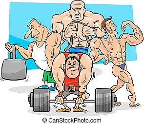 ginásio, atletas, caricatura, ilustração