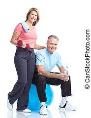 ginásio, &, condicão física