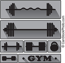 ginásio, condicão física, vector., ícones