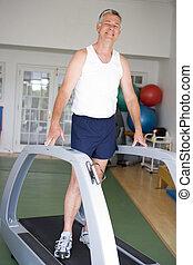 ginásio, corrida homem, treadmill