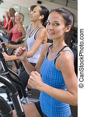 ginásio, corrida mulher, treadmill